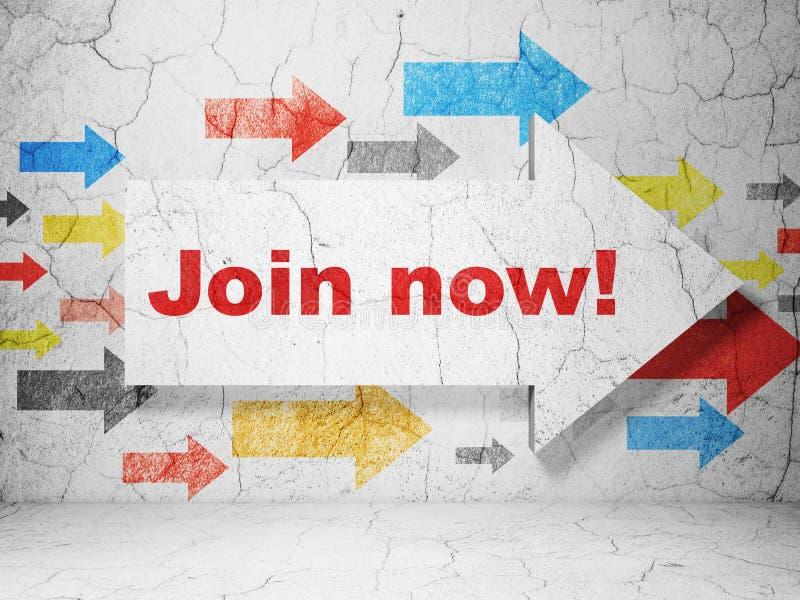 Sociaal media concept: pijl met Join nu! op de achtergrond van de grungemuur vector illustratie