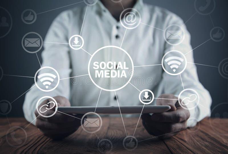 Sociaal media concept Zaken, Technologie, Mededeling stock afbeelding