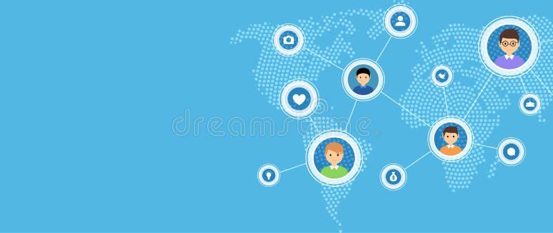 Sociaal media en de kaartconcept van de netwerkverbinding Wereld van het communicatie illustratie mensen de sociale netwerk stock illustratie