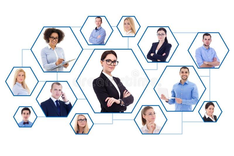 Sociaal media en Internet-concept - portretten van bedrijfsmensen royalty-vrije stock foto