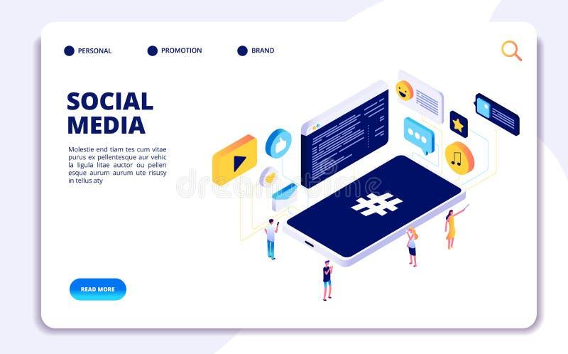 Sociaal media isometrisch concept De mensen volgen aandeelinhoud met telefoons, online daterend De vector van de Cellphoneverslav vector illustratie