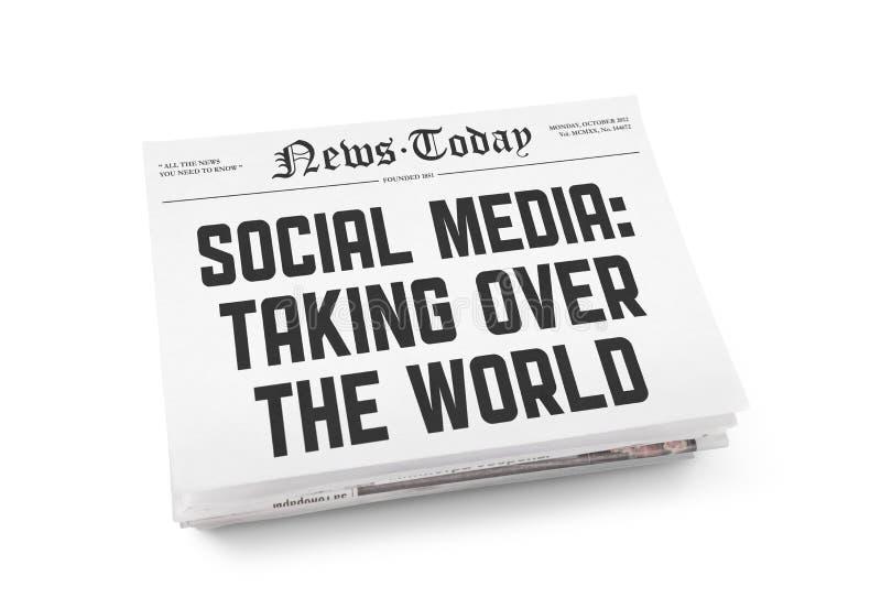 Sociaal media krantenconcept royalty-vrije stock foto's
