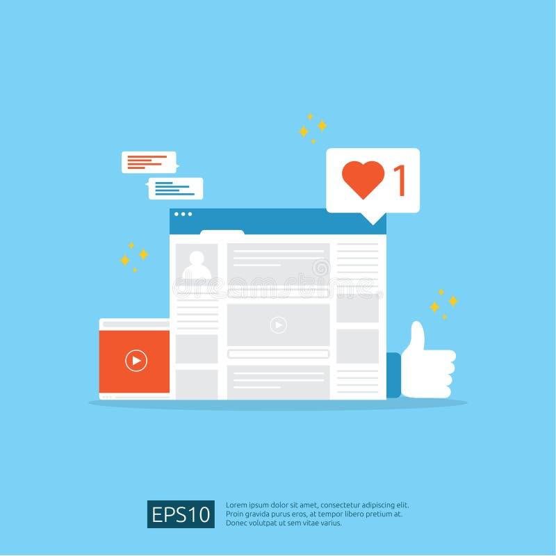 Sociaal media netwerk en digitaal marketing concept voor affiche, webpagina, banner, presentatie het publieksanalyse van het Webv stock illustratie