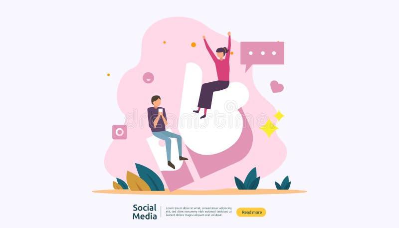 Sociaal Media netwerk en influencer concept met jongerenkarakter in vlakke stijl illustratiemalplaatje voor Weblandingspagina royalty-vrije illustratie
