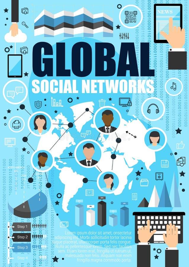 Sociaal media netwerk en Internet vector illustratie