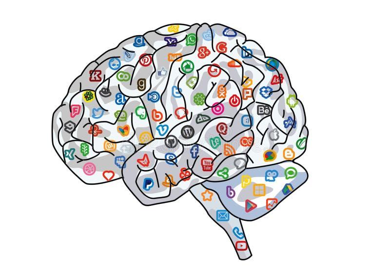 Sociaal Media Netwerk Menselijk Brain Background royalty-vrije illustratie