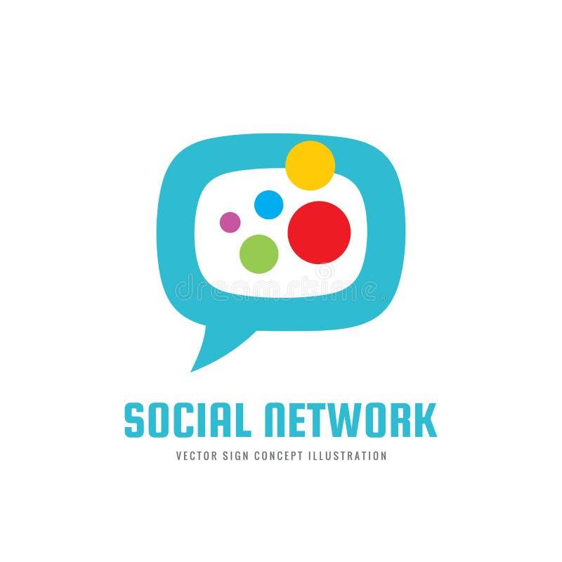 Sociaal media netwerk - vector het conceptenillustratie van het embleemmalplaatje Bericht communicatie creatief abstract teken He royalty-vrije illustratie