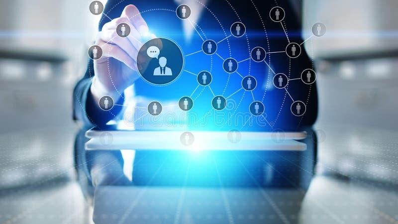 Sociaal media platform, Klanten communicatie structuur, SMM, Marketing Bedrijfs de technologieconcept van Internet en stock foto's