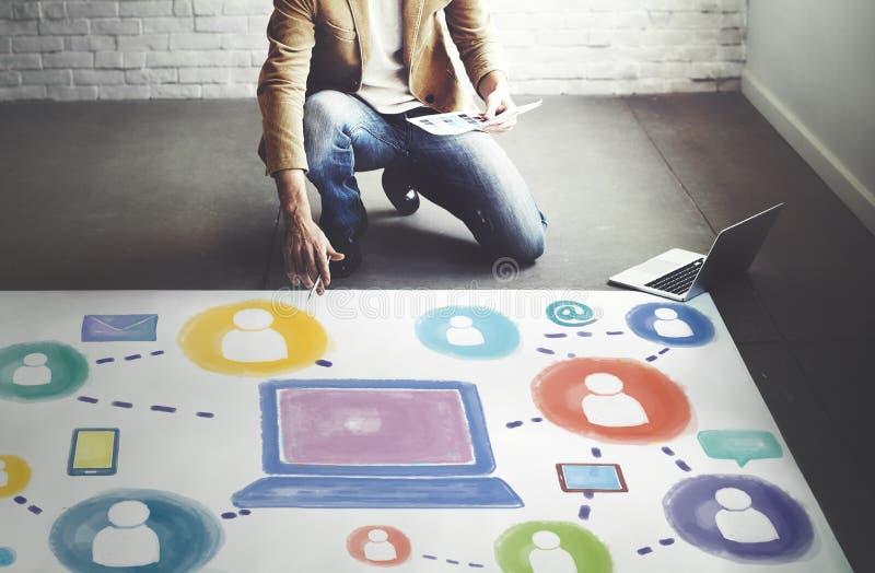 Sociaal Media Sociaal de Verbindingsconcept van de Voorzien van een netwerktechnologie stock afbeelding