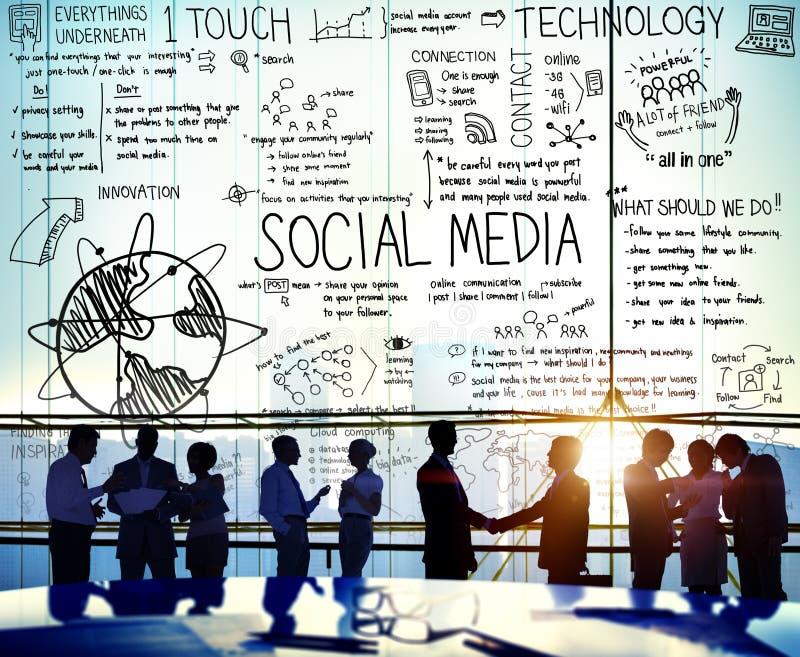 Sociaal Media Technologie Globaal Communicatie Concept royalty-vrije stock foto's
