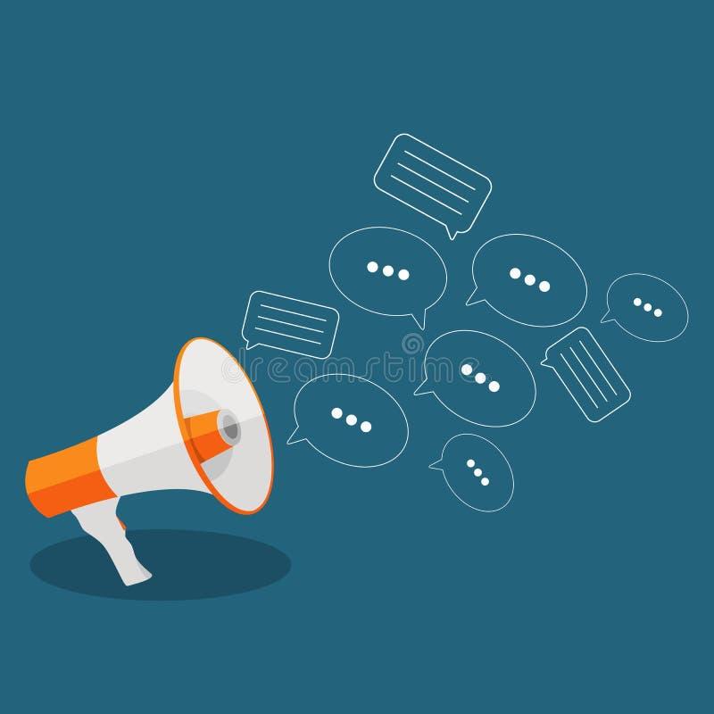 Sociaal Media Vlak Concept met Megafoon en Toespraak Bubles Messa stock illustratie