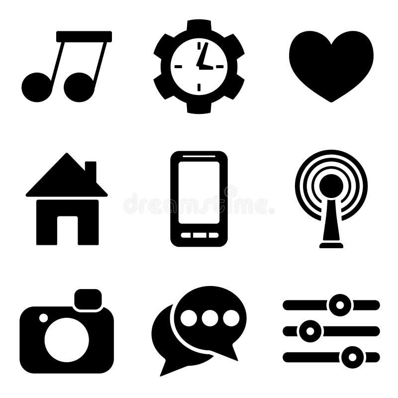 Sociaal media Web en de mobiele inzameling van embleempictogrammen vector illustratie