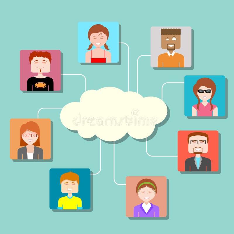 Sociaal Media Wolk Gegevensverwerkingsnetwerk royalty-vrije illustratie