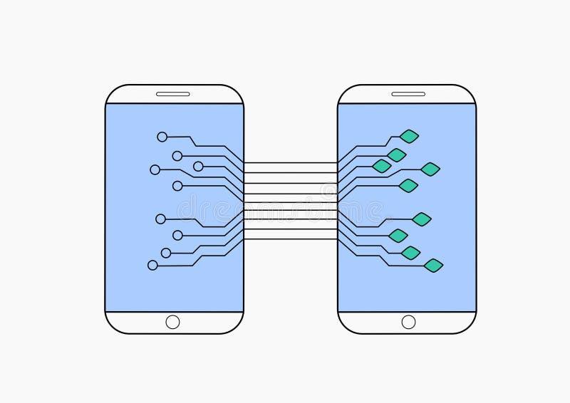 Sociaal mobiel de verbindingsnetwerk van het netwerkpictogram, stock illustratie