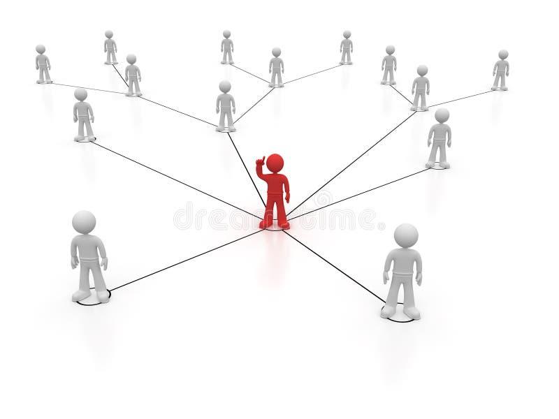 Sociaal netwerk één rood karakter met omhoog wapen royalty-vrije illustratie