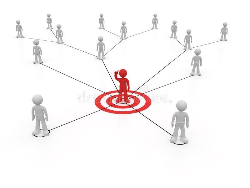 Sociaal netwerk één rood karakter met omhoog wapen vector illustratie