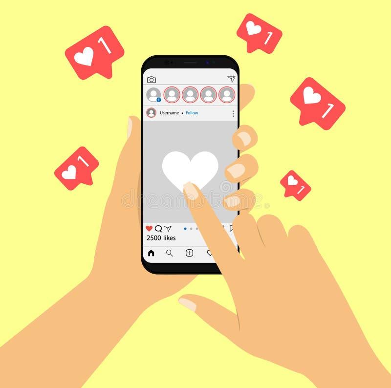Sociaal netwerk Als op sociale netwerken In hand conceptensmartphone royalty-vrije illustratie