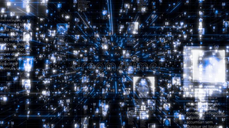 Sociaal netwerk als stroom van heldere mensenportretten die zich langs donkerblauwe netwerkverbindingen bewegen Zaken, technologi royalty-vrije illustratie