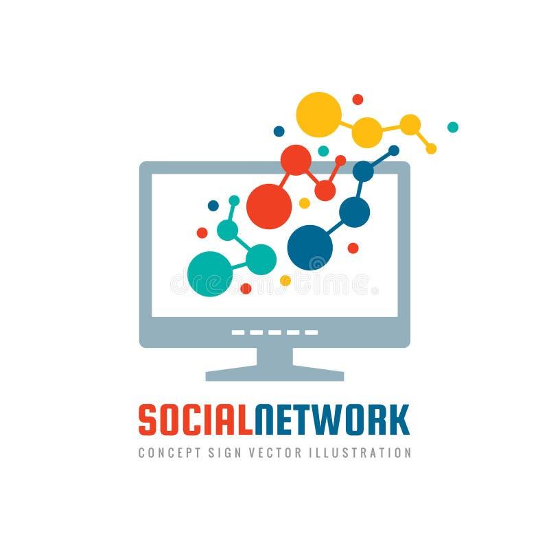 Sociaal netwerk - concepten bedrijfsembleem tempalte vectorillustratie De vertonings creatief teken van de computermonitor met ab vector illustratie