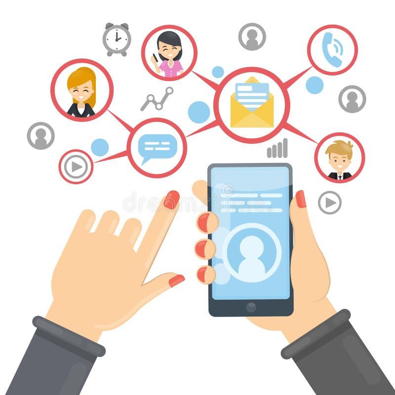 Sociaal netwerk die smartphone gebruiken stock illustratie
