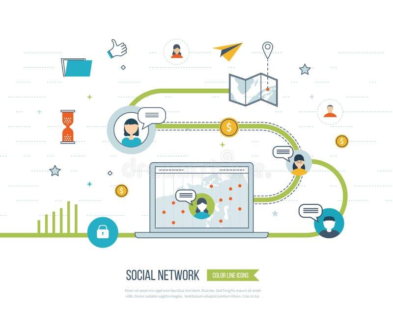 Sociaal Netwerk en Groepswerkconcept Investeringsbeheer royalty-vrije illustratie