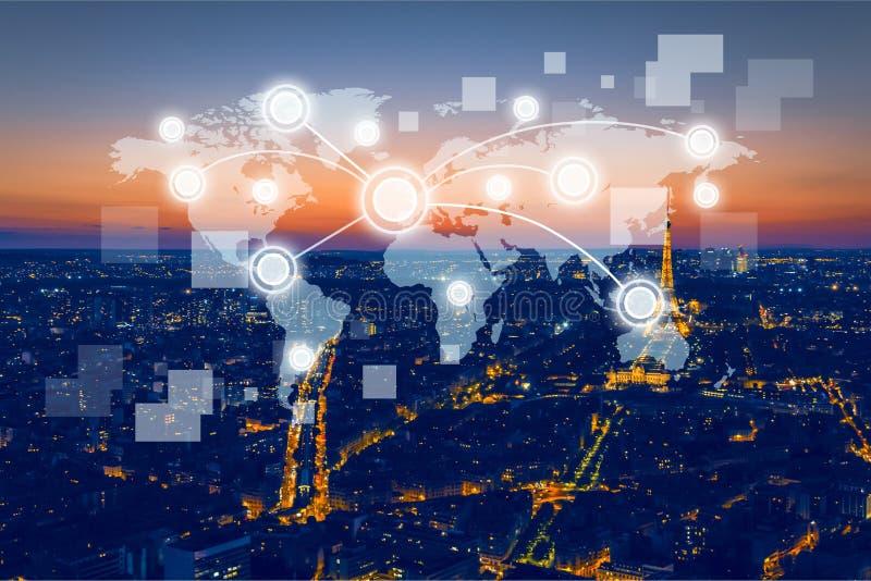 Sociaal netwerk en Moderne communicatietechnologie stock afbeelding
