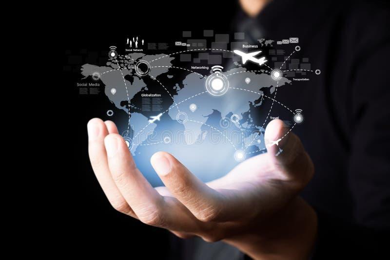 Sociaal netwerk en Moderne mededeling royalty-vrije stock afbeelding