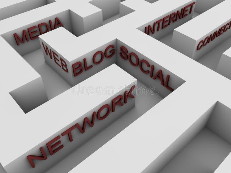 Sociaal netwerk - labyrint royalty-vrije illustratie