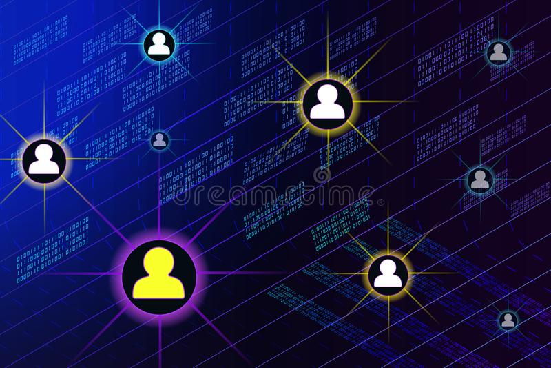 Sociaal netwerk, mensen die over de hele wereld verbinden stock illustratie