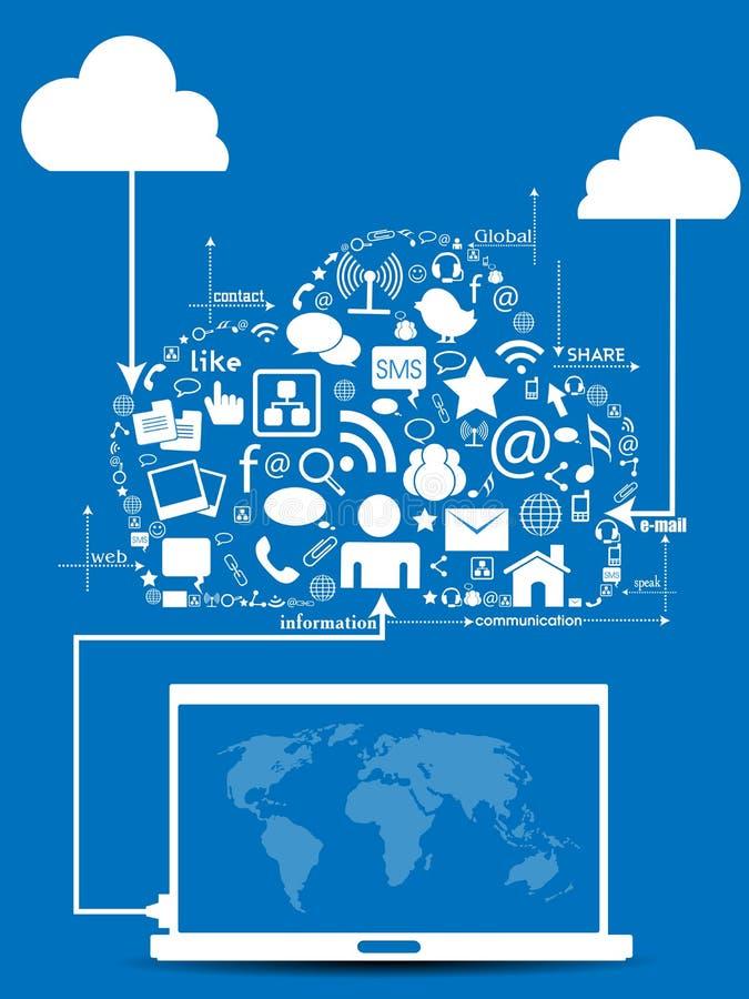 Sociaal netwerk met mededeling. royalty-vrije illustratie