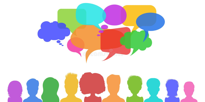Sociaal netwerk, nieuws of van de bedrijfs groepswerkdialoog concept met toespraakbellen Vlakke stijlvector vector illustratie