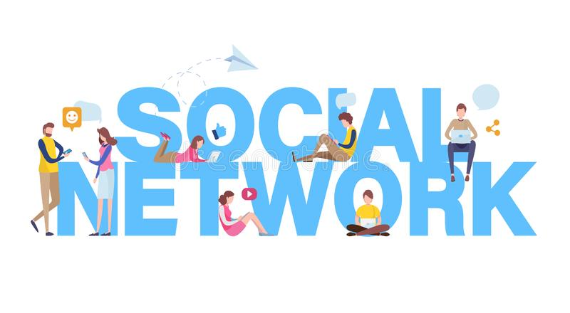 Sociaal netwerk Online Gemeenschap De gebruikende toepassing van mensen voor sociale media met grote brievenachtergrond Vlakke be vector illustratie