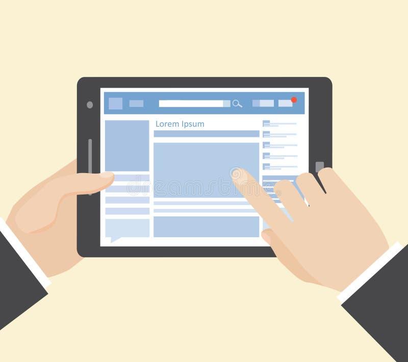 Sociaal netwerk op tablet stock illustratie