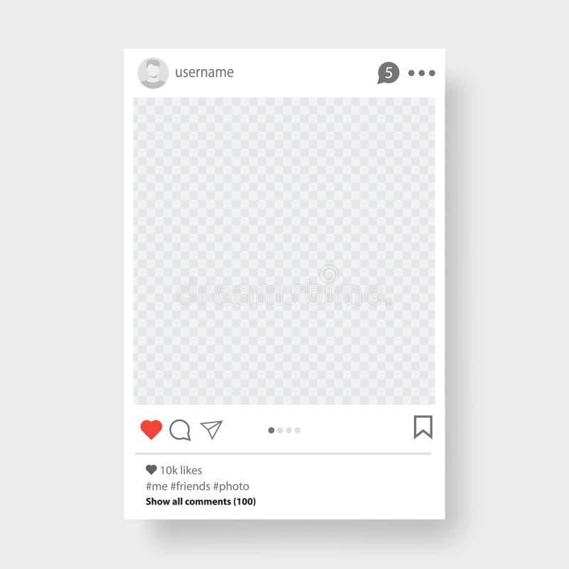 Sociaal netwerk postkader voor uw foto Grijze achtergrond Vector illustratie royalty-vrije illustratie