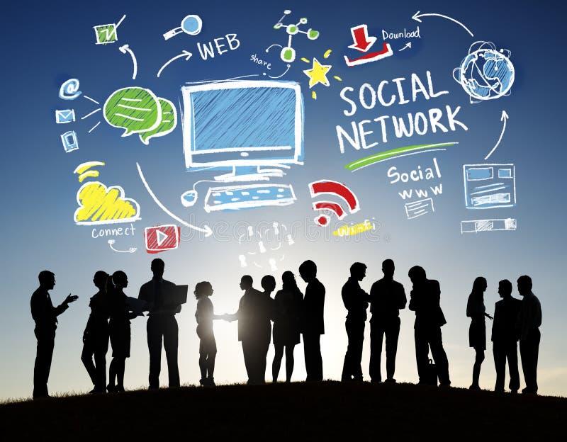 Sociaal Netwerk Sociaal Media Bedrijfsmensen in openlucht Concept royalty-vrije stock fotografie