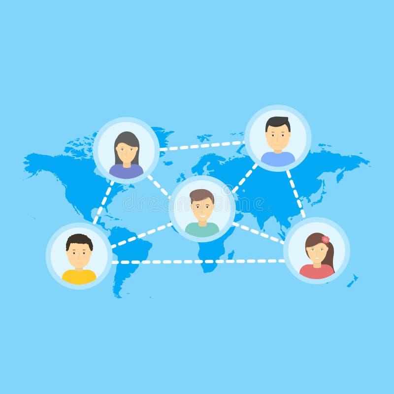 Sociaal netwerk vectorconcept Vlakke Ontwerpillustratie voor het Ontwerp van Websitesinfographic Aarde Geometrische Kaart mobile vector illustratie