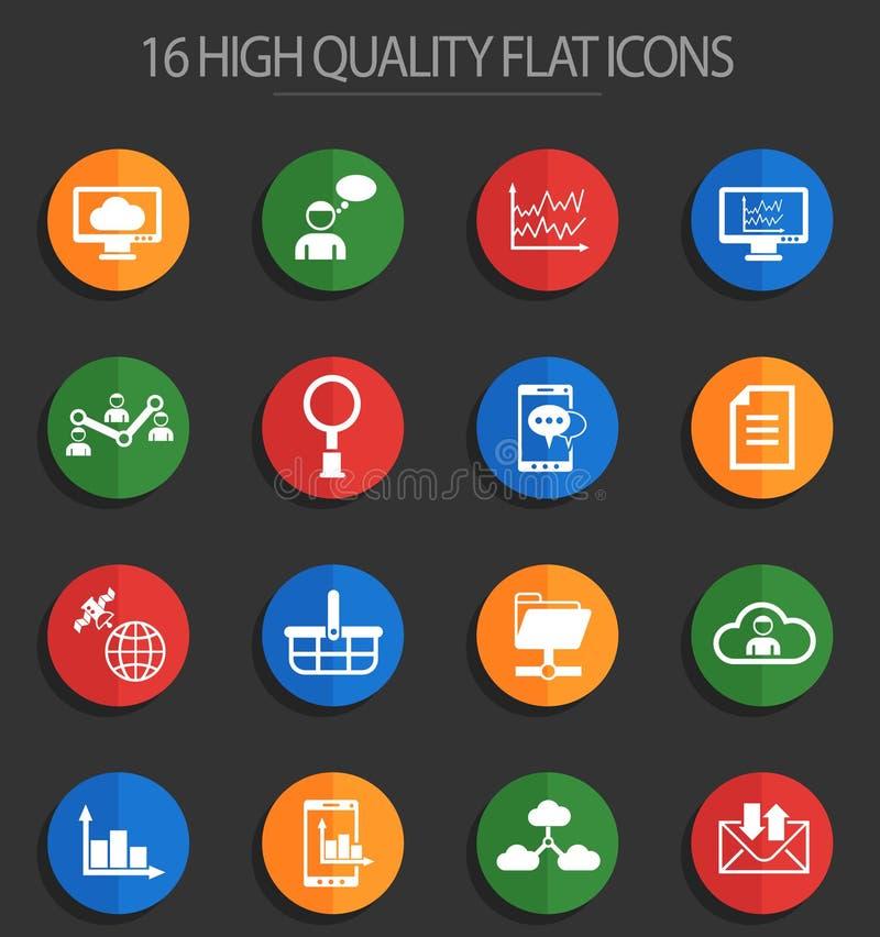 Sociaal netwerk 16 vlakke pictogrammen royalty-vrije illustratie