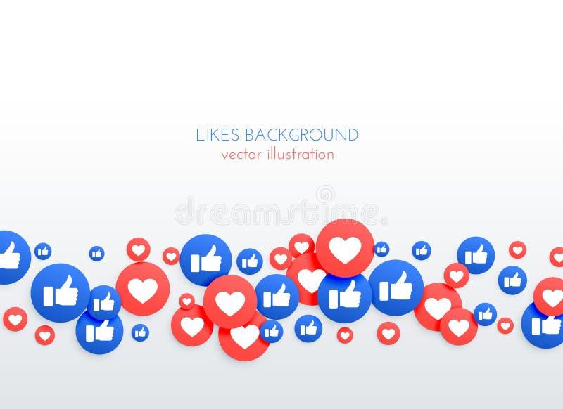 Sociaal netwerk zoals duim omhoog en de achtergrond van hartpictogrammen royalty-vrije illustratie
