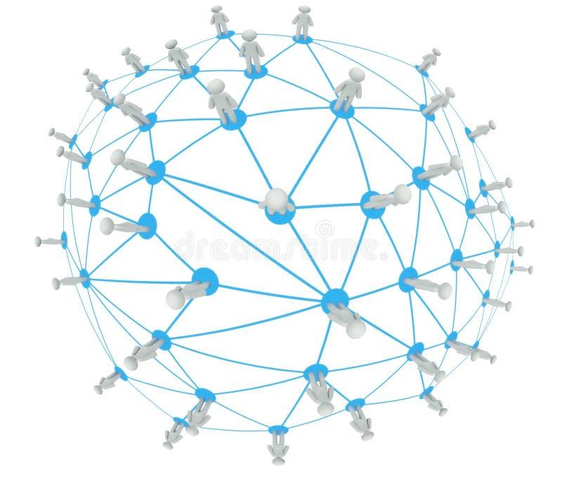 Sociaal netwerkaansluting concept, 3d planeet stock illustratie