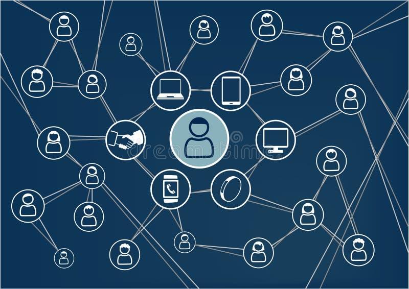 Sociaal netwerkconcept Donkerblauwe achtergrond Persoon met vrienden en familie via mobiele apparaten wordt verbonden dat stock illustratie