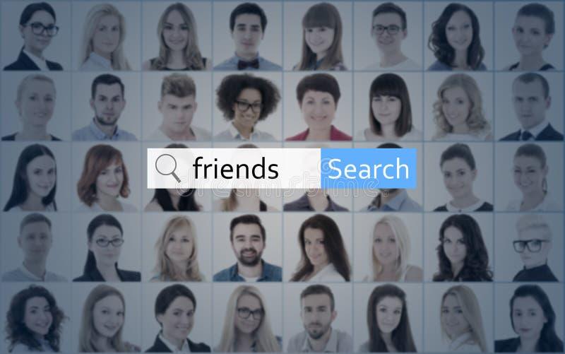 Sociaal netwerkconcept - onderzoeksbar met woordvrienden over colla stock afbeelding