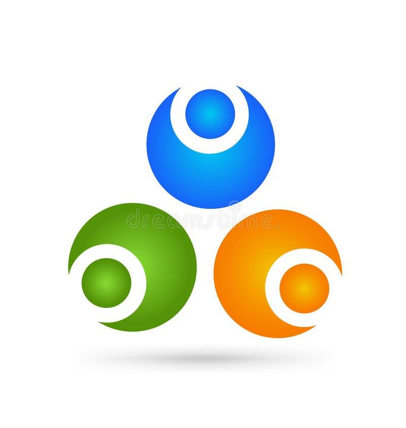 Sociaal Netwerkembleem, Groep van 3 mensen bedrijfsmensen Vector ontwerp royalty-vrije illustratie