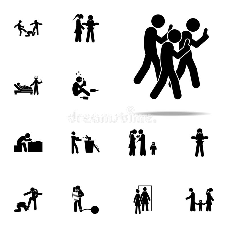 sociaal netwerkenpictogram Voor Web wordt geplaatst en mobiel de pictogrammenalgemeen begrip van de jeugd sociaal die kwesties vector illustratie