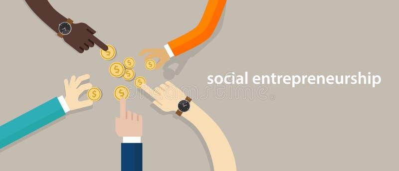 Sociaal ondernemerschapsconcept zaken met goed effect die gemeenschap ontwikkelen die anderen in behoefte helpen handen het werke stock illustratie