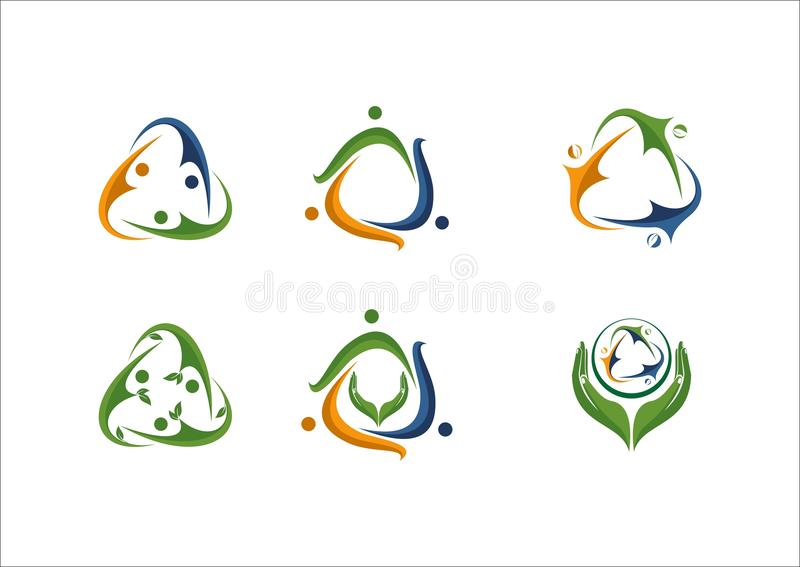 Sociaal van de het teampartner van netwerkmensen het embleempictogram stock illustratie