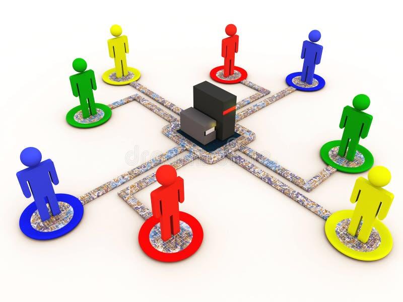 Sociaal voorzien van een netwerk stock illustratie