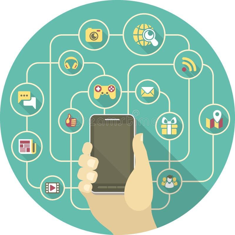 Sociaal Voorzien van een netwerk door Smartphone royalty-vrije illustratie