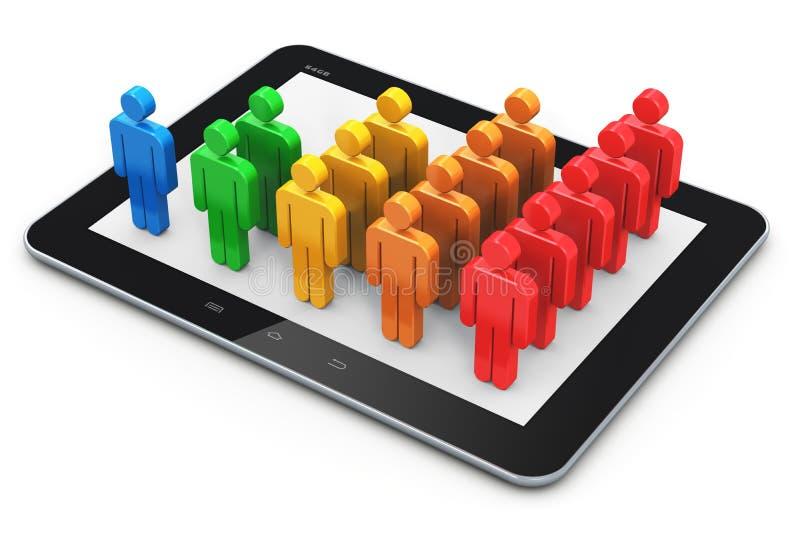 Sociaal voorzien van een netwerk en van het cliëntbeheer concept royalty-vrije illustratie