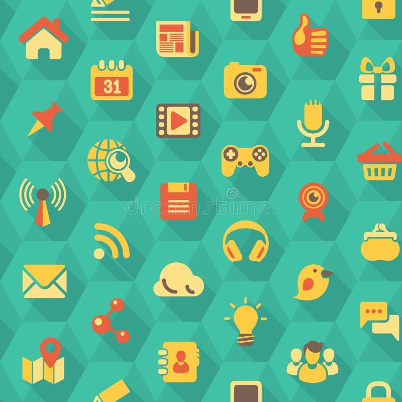 Sociaal Voorzien van een netwerk Hexagon Patroon vector illustratie