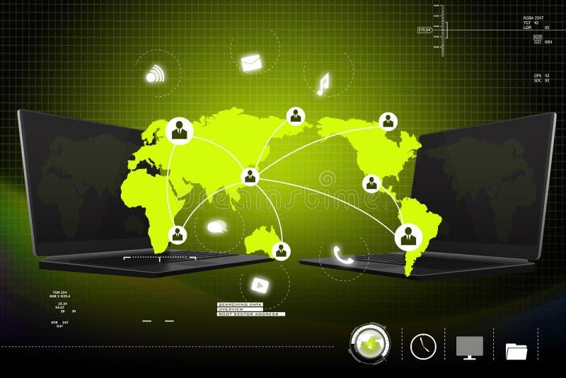 Sociaal voorzien van een netwerk in laptop stock illustratie